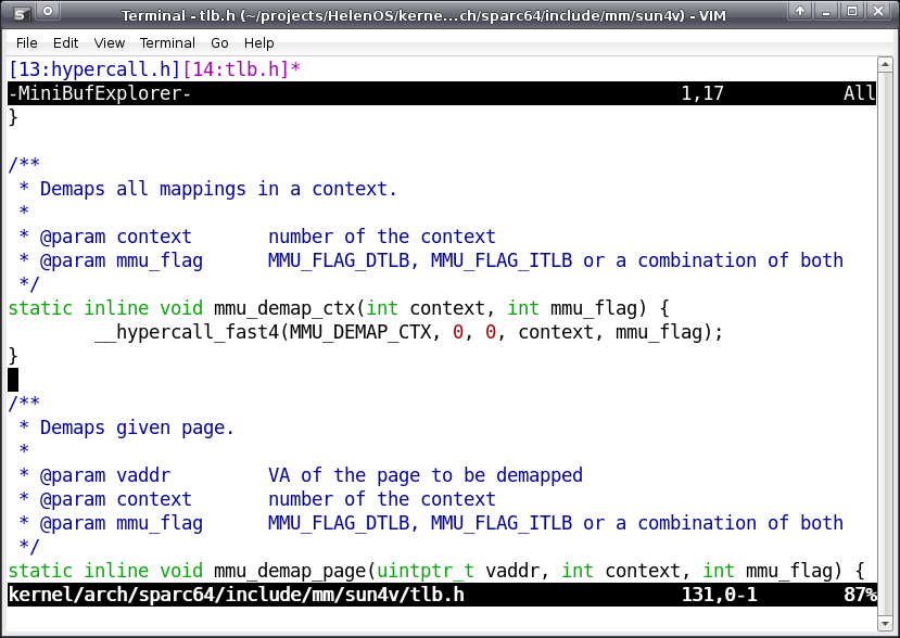 Mini Buffer Explorer with two tabs representing two concurrently opened files
